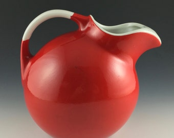 Hall China # 3 Ball Jug in Chinese Red and Hi White
