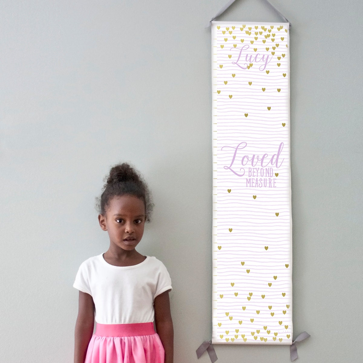 "Custom/ Personalized lavender striped and gold hearts ""Loved beyond measure"" canvas growth chart for girl's room/nursery"