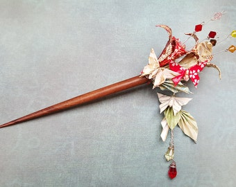 Origami Hair Stick Flowers Butterflies, Asian Japanese Hair Stick, Kimono Hair Accessory, Origami Jewelry, Wedding Hair Stick, made to order