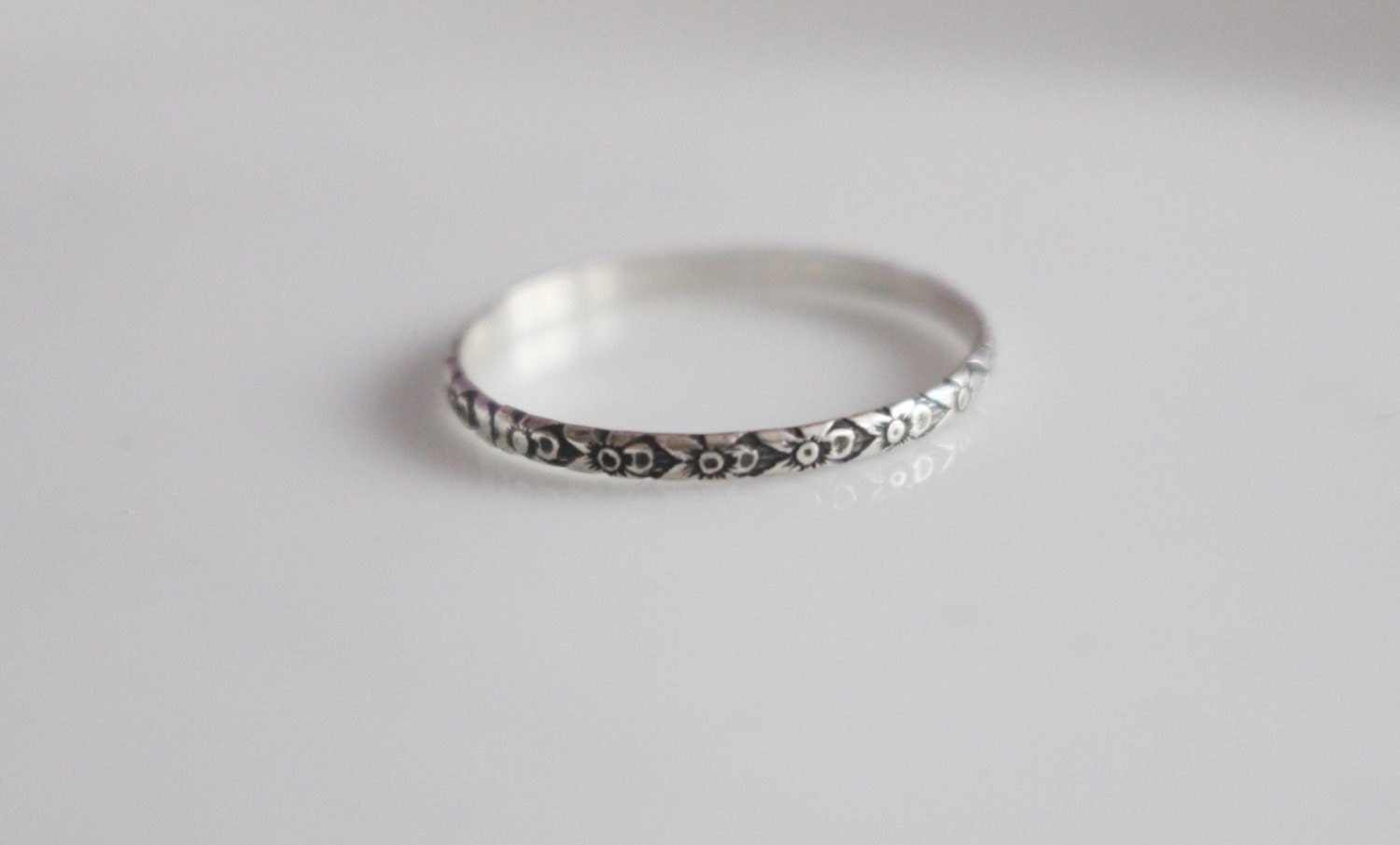 thin patterned ring thin silver ring by willajunejewelry