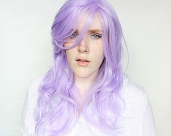 SALE Long Purple wig | Wavy Pastel wig with bangs | Cosplay wig, Scene wig | Midsummer Lilac