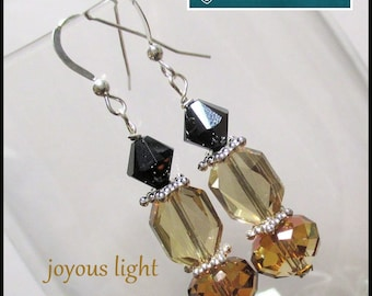 Amber Glass Black Crystal Earrings Sterling Silver Filled Amber Earrings Champagne Gold Crystal Jewelry Elegant Dressy Sparkly Earrings