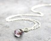 Pink Amethyst Necklace Sterling Silver Simple Briolette Faceted Gemstone Necklace