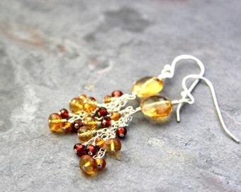 Citrine Earrings Garnet Cascade Cluster Beaded Gemstones Sterling Silver November Birthstone