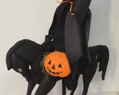 Halloween Black Horse with Rider holding Pumpkin Handmade Doll