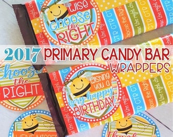 2017 PRIMARY Themed Candy Bar Wrapper, Birthday Tags, CTR, Choose the Right, Birthday Gift ...