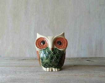 pottery owl vase planter    rustic woodland home cabin decor