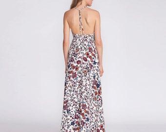 Maxi dress, 50% off, formal dress, cocktail dress, open back dress, prom dress, Spaghetti straps, floral print, gown
