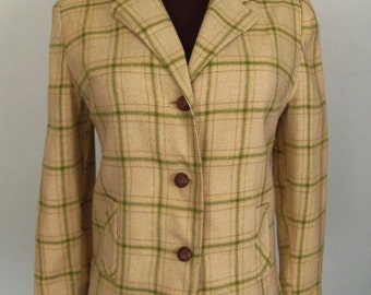 Vintage 70's Women's Blazer Jacket Plaid Golden Yellow and Olive Green and Tan Size S / M