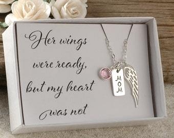 Her wings were ready, but my heart was not, memorial for MOM, sterling silver necklace, wing, birthstone, name up to 3 letters