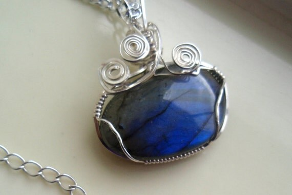 Labradorite Pendant Black Moonstone Necklace Blue Necklace