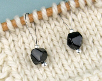 Knitting Stitch Markers, Black Onyx, Semi-Precious Stones, Silver Beads, Snag Free, Knitting Tool, Knitting Accessory, Gift for Knitters