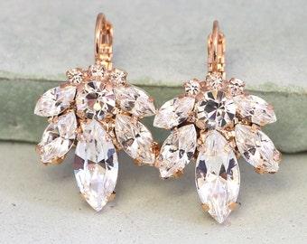 Bridal Earrings,Bridal drop earrings,Crystal drop earrings,Swarovski crystal drop earrings,Rose gold earrings,Bridal Diamond droplets