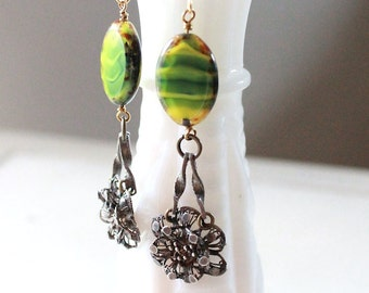 Vintage Yellow and Green Statement Earrings, Yellow Green Glass Earrings, Silver Flower Filigree Earrings, Czech Glass Flower Earrings