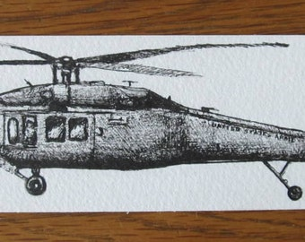 Black Hawk Helicopter II Bookmark Original Ink Illustration
