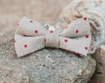 Linen bow tie - Gray polka dot bow tie - Boy bow tie - Flax bow tie - Man bow tie - Pre tied bow tie - Adjustable bow tie - Linen bowtie