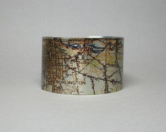 Burlington Vermont Map Cuff Bracelet Unique City University Gift for Men or Women