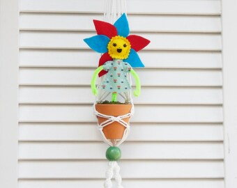 Macrame Plant Holder with Flower Girl #2 Let's Grow Together