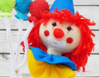 Poppy the Clown Felt Art Doll