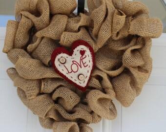 Valentine Wreath, Valentine Decorations, Rustic Wreath, Outdoor Wreath, Wedding Decoration, Burlap Wreath, Wedding Wreath, Front Door Wreath