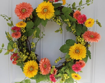 Spring Wreath, Spring Door Wreath, Floral Wreath, Door Hanging, Door decoration, front door wreath, Outdoor wreath, Outdoor door wreath