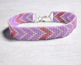 Chevron Bracelet - Geometric Bracelet - Seed Bead Bracelet - Womens Jewelry - Gifts for Her - Beaded Bracelet - Under 25