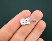 8 Guitar Charms Antique Silver Tone - SC3741
