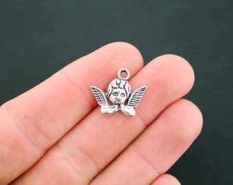 10 Adorable Cherub Charms Antique  Silver Tone - SC006