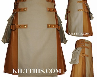 Interchangeable Nutmeg Khaki Canvas Cargo Utility Kilt Custom Fit Adjustable Many Options