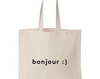 Bonjour / Screen printed totebag