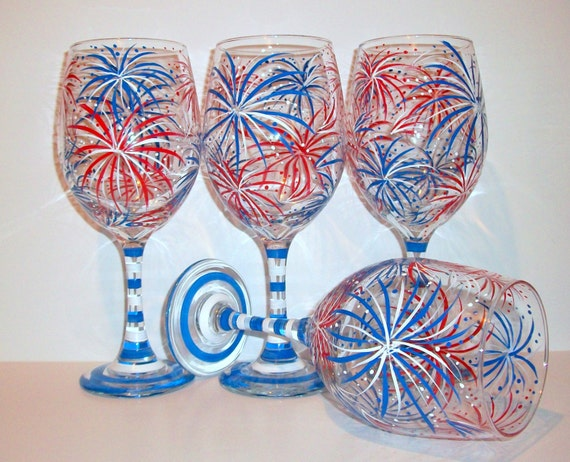 Fireworks July 4th Hand Painted Wine Glasses Set Of 4 21 Oz