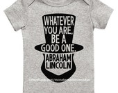 Abraham Lincoln bodysuit, Funny bodysuit, Lincoln, Cute Baby bodysuit, Unique Baby clothes, Baby Bodysuit, Kids Clothes, President