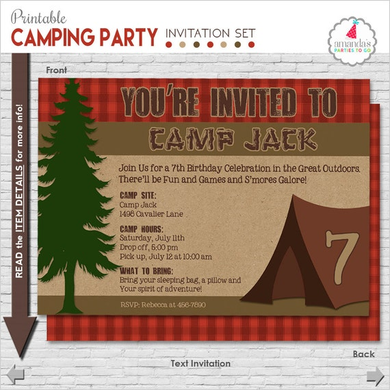 Camping Party Invitation | Camping Birthday Invitation | Camping Printable Invitation | Campout Invitation | Amanda's Parties To Go
