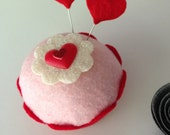 Valentine's Day Heart Felt Cupcake - Home Decor, Valentine's Day, Gifts, Anniversary, Pin Cushion, Cupcake Party
