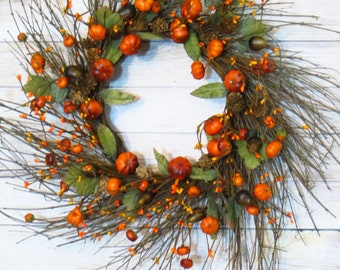 Fall Wreath, Pumpkin Wreath, Rustic Twig Wreath, Fall Berry Wreath, Fall Decor, Thanksgiving Wreath