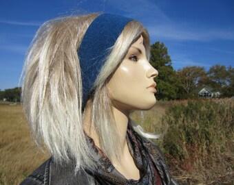Knit Headband Cashmere Wide Yoga Headband Head Ear Warmer Blue 100% Cashmere Hair Band A1122