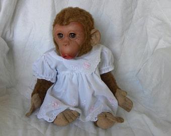 Vintage Chimpanzee - Female Toy Monkey - Large Plush Monkey - German Chimp - 1950's Thuringia Monkey