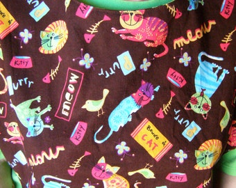 Adult Bib Fun Cats Special Needs Apron reversible extra long