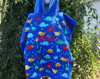 Personalized Hooded Beach Towel  BEACH POOL Coverup  DINOSAUR Towel  Boys Beach CoverUp