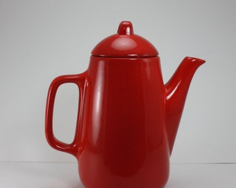 Vintage Coffee Pot Red Ceramic Pottery Mid Century Waechtersbach Style