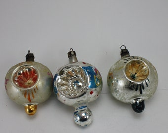 3 Vintage Glass Christmas Ornaments Poland Hand Painted Hand Blown Indent Starburst Top Shaped