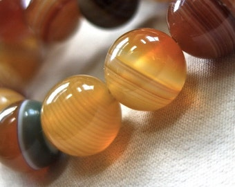 "10mm Amber Yellow Green Lace Agate Round Beads, 10mm, full strand, 15.5"", 38 beads"