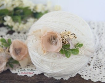 Newborn Tieback Headband, Blush Nude Cream Tieback, Newborn Tie Back, Newborn Photo Prop, Newborn Headband, Newborn Halo, Floral Crown, Lace