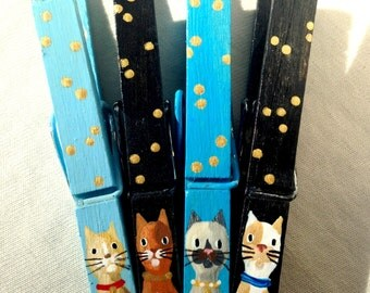CAT CLOTHESPINS turquoise and black hand painted magnetic Siamese cat brown cat calico cat gold spots