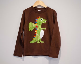 Size 6 Ready to Ship Boys Dragon Shirt, Applique Flying Dragon, Brown Long Sleeve Tshirt, Original Aidille Design, Dragon Birthday Tee