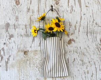 Farmhouse Decor Ticking Fabric Wall Pocket Wedding Decor Gift Farmhouse Style