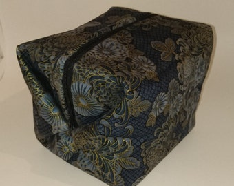 Navy and Gold Flowers Box Bag, Sock or Project Bag