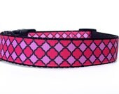 Pink Black Dog Collar,  Girl Dog Collar, Geometric Dog Collar, Quatrefoil Dog Collar, Nylon Webbing Dog Collar, Pink Collar