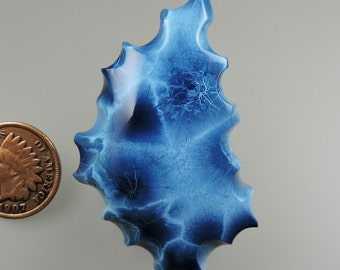 Shattuckite Blue Velvet Chatoyant Hand Cut Cabochon from 49erMinerals Stock C1467, free U.S. shipping