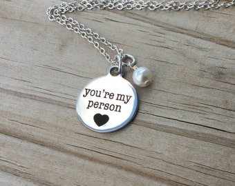 "Friendship Necklace- ""you're my person"" with a heart laser etched charm with an accent bead in your choice of colors"